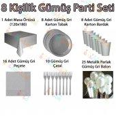 8 Kişilik Gümüş Gri Doğum Günü Parti Malzemeleri Konsepti Seti