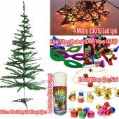 Yılbaşı Çam Ağacı 120 Cm + 25 Renkli Süs+ Led Işığı +kar Spreyi