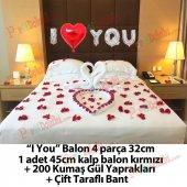 Romantik Oda Süsleme Paketi I Love You Gümüş Balon Gül Yaprakları