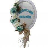 1 Adet Mavi Beyaz Çiçekli Ahşap Doğum Odası Kapı Süsü