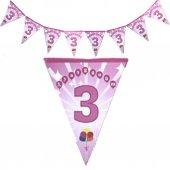 1 Adet Kız Pembe 3. Yaş Günüm Yazılı Doğum Günü Parti Flaması-3