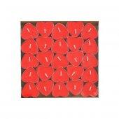 20 Adet Kırmızı Kalp Şeklinde Küçük Kalpli Tealight Mumlar-4