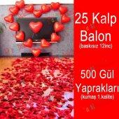 25 Kalp Balon + 500 Yapay Gül, Kalpli Balon ve Gül Yaprakları-4
