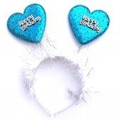 Kalp Mavi Simli Happy Birthday Yazılı Taç, Doğum Günü Parti Tacı