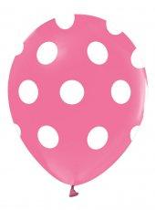 14 Adet Pembe Beyaz Puantiyeli Balon, Benekli Cinsiyet Balonları