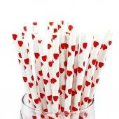 25 Adet Kırmızı Kalp Desenli Beyaz Karton Pipet, Doğum Günü Parti-2