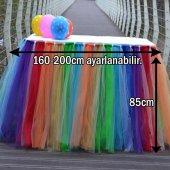 Rengarenk Tütü Eteği Masa Süsleme Örtüsü Gökkuşağı Renkli Tül-5