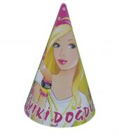 10 Adet Barbie Lisanslı Karton Külah Doğum Günü Parti Şapkası
