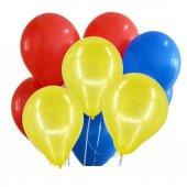 30 Ad Metalik Kırmızı Sarı Koyu Mavi Lacivert Balon Helyumla Uçan
