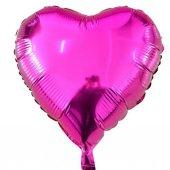 1 Adet 45cm Koyu Pembe Fuşya Renginde Kalp Şeklinde Folyo Balon