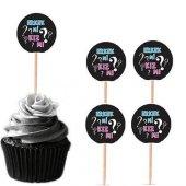 20 Adet Cinsiyet Belirleme, Öğrenme Partisi Cupcake Kek Kürdanı
