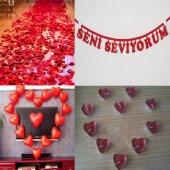 Evlilik Yıl dönümü 500 Gül yaprağı Kalp Balon+Mum +Yıldönümü Yazı-6