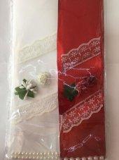Bordo Beyaz Gelin Damat Takı Kurdelesi Düğün Kına-4