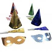 10 Adet Renkli Şapka, Gözlük ve Düdük Yılbaşı Parti Seti-5