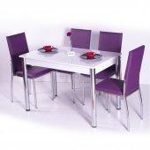 Desenli Renkli Mutfak Masası Takımı Sandalye...