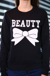 Sevgili Kombinleri Beast - Beauty Sweatshirt Siyah-4