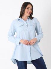 Büyük Beden 7095 Oxfort Gömlek Bebe Mavi