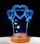 3D Led Lamba 3 Boyutlu Yıl Dönümü Kişiye Özel Hediye Gecelambası