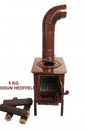 Mini Emaye Kuzine Odun Sobası 5 Kg Pres Şömine...