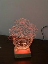 3D 3Boyutlu Güllü Vazo Kişiye Özel Kumandalı 16 Renk LED-2