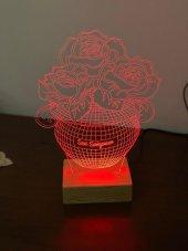 3D 3Boyutlu Güllü Vazo Kişiye Özel Kumandalı 16 Renk LED-3