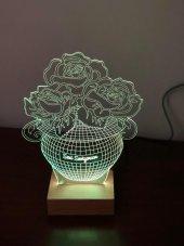 3D 3Boyutlu Güllü Vazo Kişiye Özel Kumandalı 16 Renk LED-4
