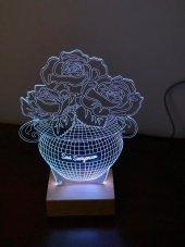 3D 3Boyutlu Güllü Vazo Kişiye Özel Kumandalı 16 Renk LED-5