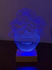 3D 3Boyutlu Güllü Vazo Kişiye Özel Kumandalı 16 Renk LED-6