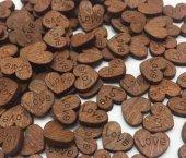 Kutlama İçin Ahşap Kalp (Love) Masa Süsü 100 Adet