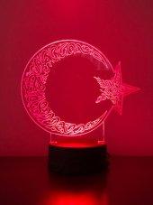 3d 3boyutlu Ayyıldız Kişiye Özel Kumandalı 16 Renk Led Gecelambas