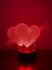 3d 3boyutlu İkili Kalp Kişiye Özel Hediye 10 Renk Led Gecelambası