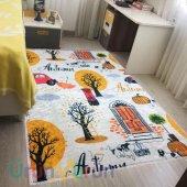 Elenist Autumn Sonbahar Desen Yumuşak Yüzeyli Kaymaz Taban Halı