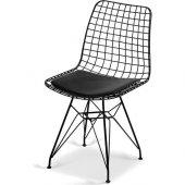 Kenzlife kafes tel sandalyesi dörtlü (4 lü) mazlum siyah ofis caf-5