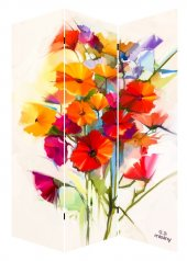 Misiny 120x180 3 Kanatlı Çiçek Kanvas Paravan