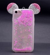 Iphone 6 6s Mickey Silikon Arka Kapak Pembe + Ekran Koruyucu Temperli Cam