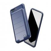 Baseus Plaid İphone 7 Plus 8 Plus Lacivert Şarjlı Kılıf Arka Koruyucu Kapak 3600mah