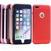 Iphone 7 Plus 360 Kılıf Fileli Sert Arka Kapak + Ekran Koruyucu Temperli Cam