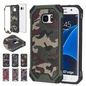 Samsung Galaxy S7 Edge Silikon Kılıf Military Arka Kapak + Ekran Koruyucu Temperli Cam