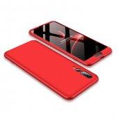 Huawei P20 Pro 360 Kırmızı Full Koruma Kılıf Arka Koruyucu Kapak