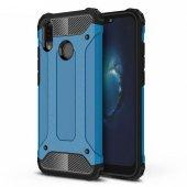 Huawei P20 Lite Shield Mavi Koruma Kılıf Arka Koruyucu Kapak