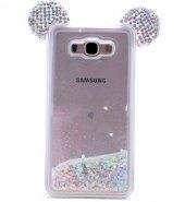 Samsung Galaxy J7 Kılıf Mickey Silikon Arka Kapak Beyaz + Ekran Koruyucu Temperli Cam