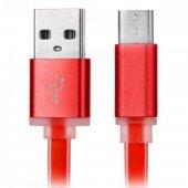 Samsung Galaxy Tab E Type C Hızlı Şarj Data Kablosu Yassı Silikon Kopmayan 1 Mt Kırmızı