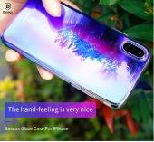 Baseus İphone X Kılıf Glaze Renk Geçişli Kapak Kap + Kırılmaz Cam Ekran Koruyucu