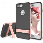 Gizli Stand Ayaklı Rose Gold Apple İphone 7 Plus Kılıf Arka Koruyucu Kapak