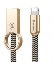 Baseus Ring İphone 5 6 6s 7 Plus Kaliteli Şarj Kablosu Örgülü Kablo 100cm Gold