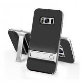 Samsung Galaxy S8 Plus Stand Gümüş Gri Kılıf Arka Koruyucu Kapak