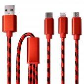 Iphone 6s Plus Type C Micro Lightning 3in1 Şarj Kablosu Halat Örgülü 1 Metre