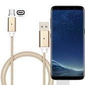 Samsung Galaxy S8 Plus Mıknatılslı Şarj Kablosu Type C Halat Örgülü Eko 100cm Gold