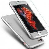 Gümüş Gri 360 Koruma Apple İphone 7 Kılıf Arka Koruyucu Kapak