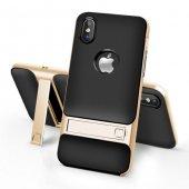 Apple İphone X Gizli Stand Gold Kılıf Arka Koruyucu Kapak